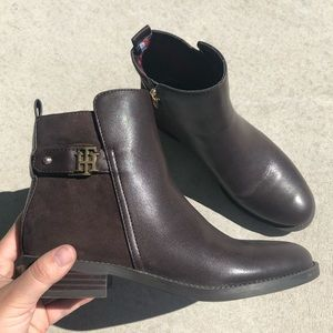 Tommy Hilfiger Brown Leather Irsela Ankle Boots
